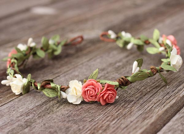 Coral Flower Crown Ivory Leaf Hair Garland Floral Wedding Headband